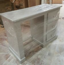 HANDMADE AYELSBURY GREY SINGLE DRESSING TABLE (SILVER HANDLES) NO FLAT PACKS