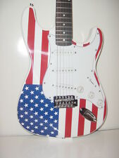 New Full Size S Style 6 String  US American Flag Electric Guitar with Gig Bag
