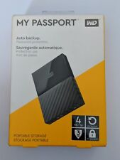 New Sealed Black Western Digital My Passport 4TB USB 3.0 External Hard Drive