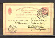 Stationery L93 Denmark 1895 Postcard P-20 used to Verviers Belgium /torn Paper/