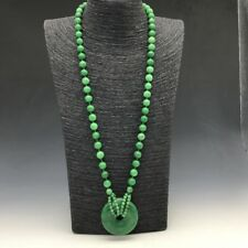 collect China carving heart-shaped  pure natural green jade necklace.  q871