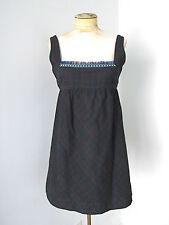 Free People black plaid folklore cotton twill jumper empire dress tulle trim 4