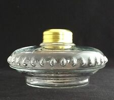 OIL LAMP FONT CLEAR CRYSTAL GLASS for CAST IRON WALL BRACKET LAMP or SHELF LAMP
