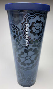STARBUCKS Blue Wave Abstract Flower Venti Print Cold Cup Acrylic TUMBLER 24 Oz