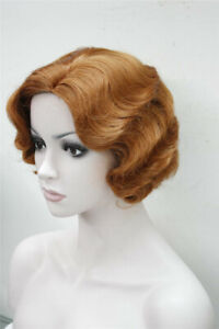 Women's Wig Ladies Short Brown Red Finger Wave Ladies Daily Hair Wigs+Wig Cap