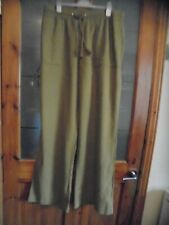 SIZE 12 LONG  MARKS AND SPENCERS OLIVE GREEN 55% LINEN TROUSERS