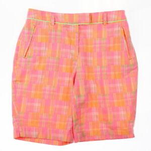 Lady Hagen Womens Islamorada Patchwork 10'' Golf Shorts Orange Nectar Size 4