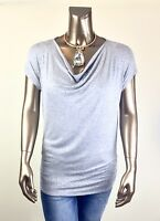 CHICO'S $74 NEW GRAY STUDDED DOLMAN-SLV RUCHED SIDE TOP SIZE 0 ( S )