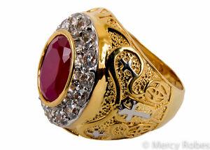 Men's Clergy Apostle Ring, Style Mercy2017 (G-R), Genuine Ruby, Swarovski Stones