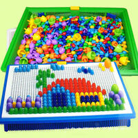 Children Kids Puzzle Peg Board With 296 Pegs Mushroom Peg Educational Toys Gifts