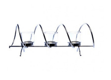 Beautiful Chrome Swirl 3pc Tea Light Glass Candle Holder Dining Table