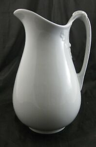 """Large Victorian White Ironstone 12.5"""" Pitcher 1880s"""