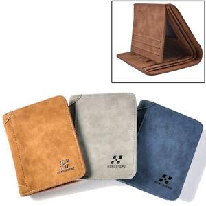 Mens PU Leather Wallet Pocket Coin Card Money Holder Clutch Bifold Slim Purse