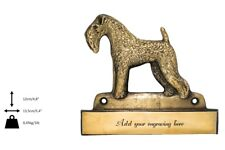 Kerry Blue Terrier - brass tablet with image of a dog, engraver, Art Dog Usa