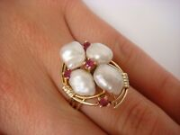 UNIQUE 14K YELLOW GOLD VINTAGE HAND MADE PEARL AND RUBIES LADIES RING SIZE 7.5
