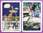 PAIR SWAP CARDS. VIENNA ZOO ANIMALS VINTAGE POSTCARD ART. GIRAFFES SEALS.PIATNIK