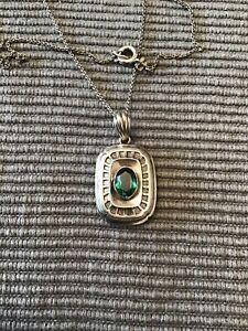 Jugendstil Silber Anhänger mit Grünen Stein. 835 Silber