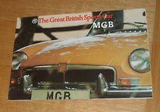 MG MGB Roadster Brochure 1972-1973 Chrome Bumper Model