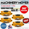 4x 6 Ton 13200lb Heavy Duty Machinery Mover Roller Dolly Skate w/360° Swivel Top