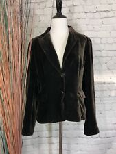 TAHARI Women's Brown 2 Snap Button Velvet Career Sweater Blazer Size Medium