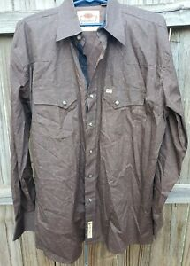 Larry Mahan Cowboy Collection Long Sleeve brown Paisley pearl Snap XL Shirt