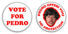 "2 x Vote for Pedro Combo Set 25mm 1"" Pin Badges Napoleon Dynamite Cool"