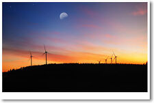 Wind Farm at Dusk - Alternative Energy - Ecology Sustainable Renewable POSTER