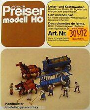 Preiser 30402 H0, Leiter- und Kastenwagen mit Figuren und Pferden, Bausatz, Neu