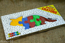 NEW triceratops DINOSAUR SHAPED PUZZLE CRAYONS retro FUN ART SUPPLY box COLOR