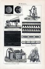 Antique print sound ( mechanical wave ) geluid 1895