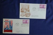 300th Anniversary New York City 3c Stamp 2 FDCs K. Boll Cachetcraft S#1027 04289