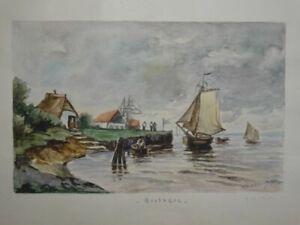 Bretagne - Chabaud Aquarell Handzeichnung sign. Frankreich Küste Landschaft 1925