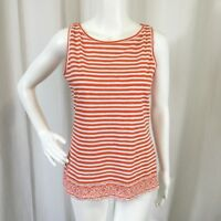 Talbots Womens Top Relaxed Cotton Orange Striped Sleeveless Tank Knit Size S