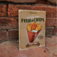 Fish And Chips Best  Shop ADVERTISING ENAMEL METAL TIN SIGN WALL PLAQUE Kitchen