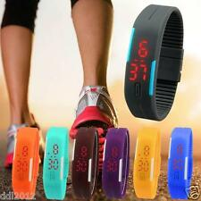 Ultra Thin Men Girl Boys Sports Silicone Digital LED Sports Wrist Watch Bracelet