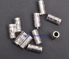 30pcs Tibetan Silver Charm Flower Tube Spacer Beads 12x5mm G3421