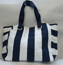 Lovely Navy Blue and White Striped Shoulder Beach Tote day bag storage