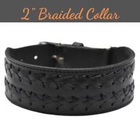 """Genuine Leather Dog Collar Braided 2"""" Wide Handcrafted For Large Dogs Heavy Duty"""