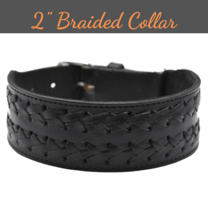 "Genuine Leather Dog Collar Braided 2"" Wide Handcrafted For Large Dogs Heavy Duty"