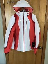 Nwt Obermeyer Womens Jette Jacket 11108 - White / Red - Size 14