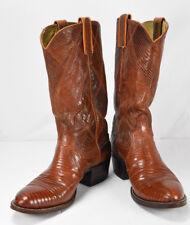 Dan Post Mens Brown Tan FULL Lizard Leather Exotic Cowboy Boots Vintage Size 7 D