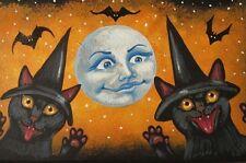 4x6 LE HALLOWEEN POSTCARD RYTA VINTAGE STYLE 2/150 ART BLACK CAT MAGIC MOON BATS