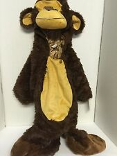 Monkey Costume Infant 6-12 Months Brown Plush Head Hood Jumpsuit