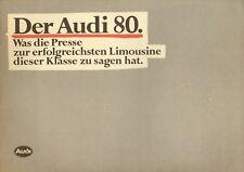 Audi 80 Prospekt 1980 5/80 Presse Presseberichte Autoprospekt Katalog brochure