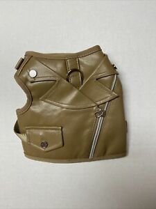 Martha Stewart Faux Leather Biker Tough Dog Harness Vest Brown Small M59406