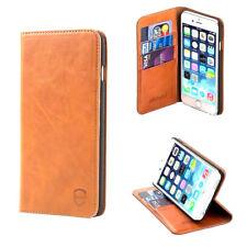 Allshield iPhone 6 PLUS, 6S PLUS Luxury Real Leather Flip Case Wallet Tan Brown