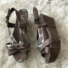 Belle Sigerson Morrison Shoes 9 Platform Wedge Strappy Sandals Leather