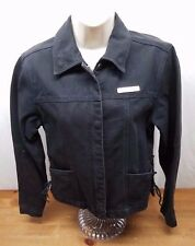 Women's Harley-Davidson Denim Jacket, Size Small, Black Draw String Excellent
