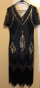 1920's Black & Gold Flapper Dress (Gatsby Themed Party)