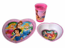 Dining Set 3 pc Plate Bowl Cup Dining Disney Princesses Heart Shaped Smooth NEW